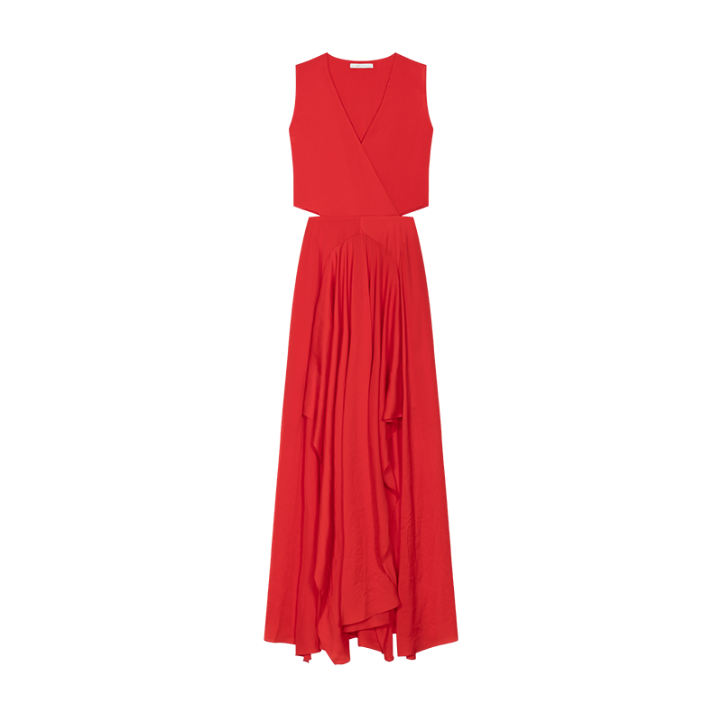 Maxi dress with flounce detail - Vestidos - MAJE